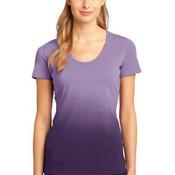 Ladies Dip Dye Rounded Deep V Neck Tee