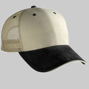 BRUSHED BULL DENIM SANDWICH VISOR LOW PROFILE STYLE MESH BACK CAPS