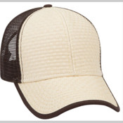 TOYO STRAW SIX PANEL LOW PROFILE MESH BACK TRUCKER HAT