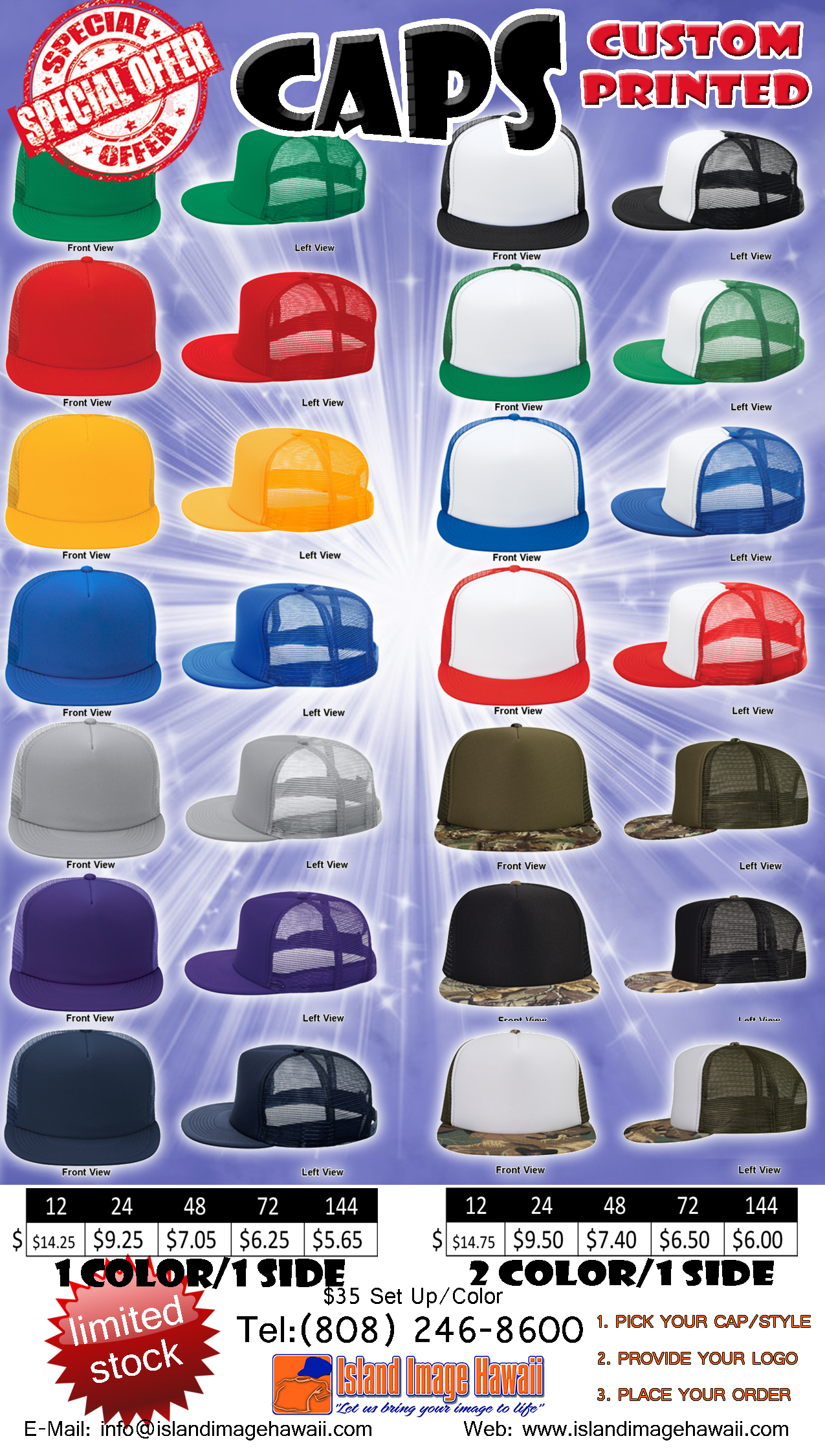 Design your own t-shirt and hats - Business Wear Caps