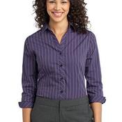 Ladies Vertical Stripe 3/4 Sleeve Easy Care Shirt