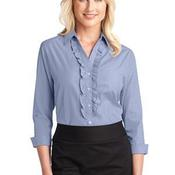 Ladies Crosshatch Ruffle Easy Care Shirt