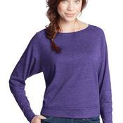 Juniors Textured Wide Neck Long Sleeve Raglan