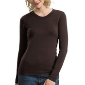 Ladies Modern Stretch Cotton Long Sleeve Scoop Neck Shirt