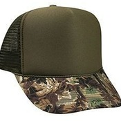 CAMOUFLAGE COTTON TWILL VISOR POLYESTER FOAM FRONT FIVE PANEL HIGH CROWN MESH BACK TRUCKER HAT