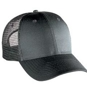 COTTON BLEND TWILL SIX PANEL LOW PROFILE MESH BACK TRUCKER HAT